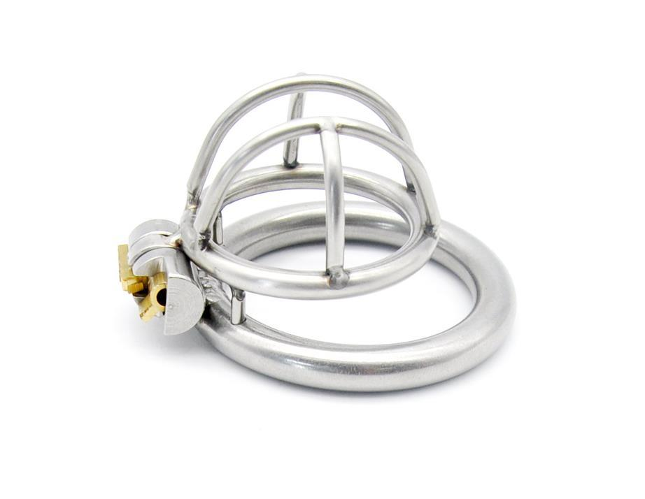 Super Small Male Chastity Device Stainless Steel Chastity Cage With With Arc-shaped Cock Ring Sex Toys Men Chastity Belt Y190601