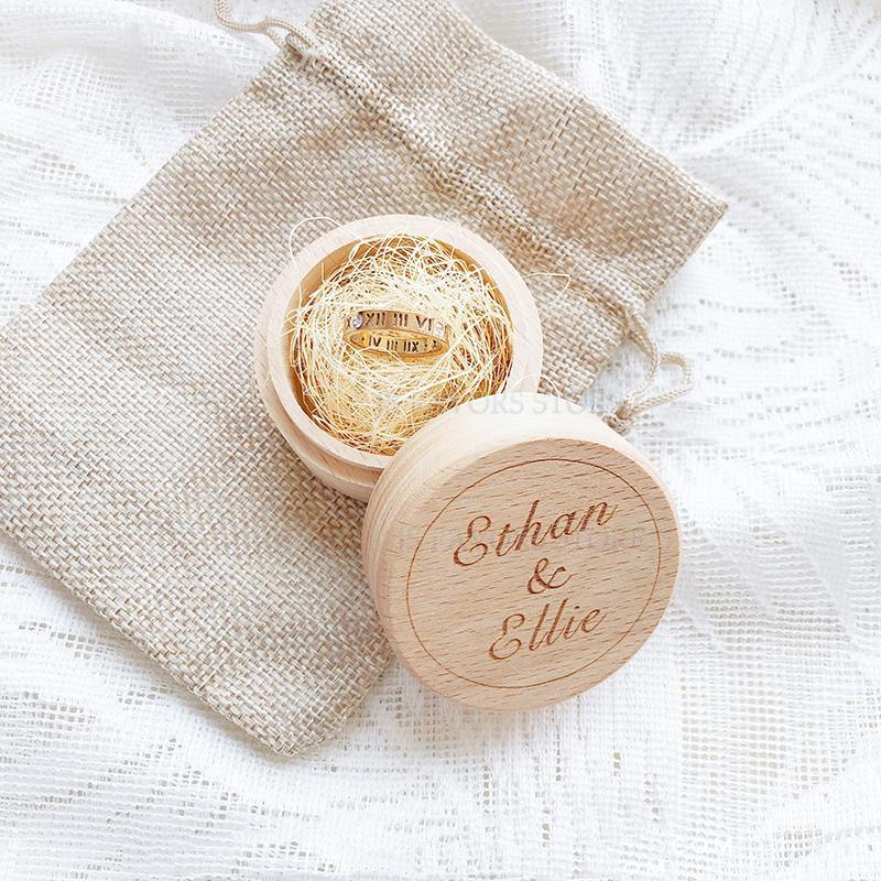 Ücretsiz nakliye 2pc özel logo nişan evlilik teklifi düğün dekorasyon en iyi hediye ahşap yüzük kutusu