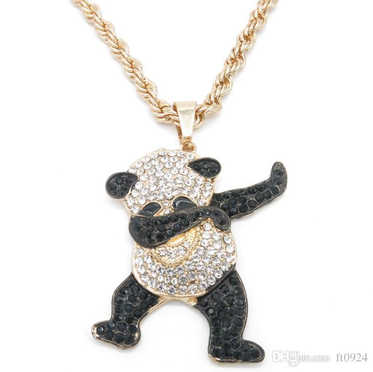 European and American fashion personality hip-hop fashion jewelry men's Necklace long twist chain alloy Cute Panda boutique Pendant