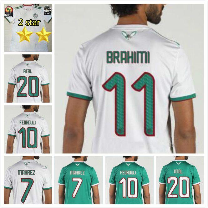2 Sterne 2019 Afrika Cup Algerien Fußball-Trikot Mahrez Feghouli SLIMANI Brahimi Mann-Fußballhemd-Kit 19 20 Algerien maillot de foot
