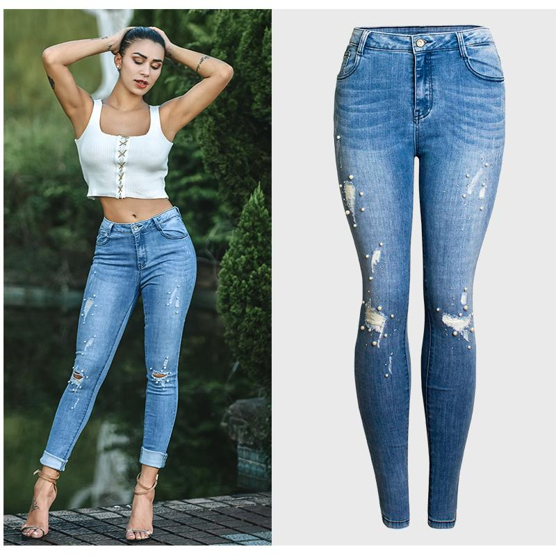 KENNTRICE Jeans Donna Slim Fit strappati, pantaloni Hole Jean donne sexy in rilievo vestiti delle donne pantaloni in denim