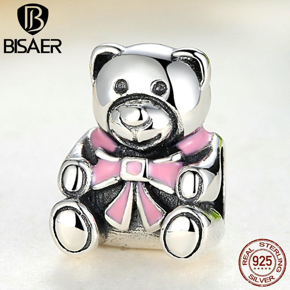 Wholesale- BISAER Present Authentic 100% 925 Sterling Silver It's A Girl Teddy Bear Pink Enamel Charm original Jewelry Accessories
