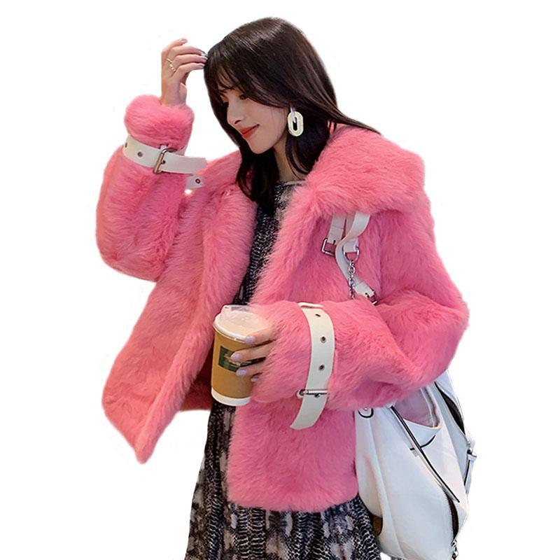 Véritable mouton réel manteau de fourrure femmes Toscane laine manteau de fourrure d'hiver épais en peau de mouton naturelle Veste Vestes Rose Real Sheep