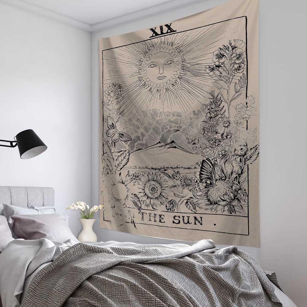 Mandala Tapiz Tapiz Brujería Hippie Beach tiro alfombra de la manta Sol y la Luna Tapices de Bohemia Inicio Psychedelic Art Decor