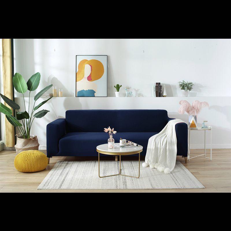 Toison à carreaux housses en tissu extensible en coupe élastique extensible Canapé pleine couverture pour Living Room 2 Seater Couch Couverture