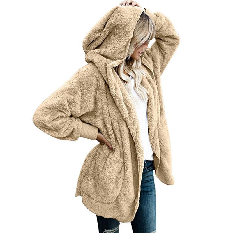 2019 Winter руно свитер шерпа флис с капюшоном Крупногабаритные Длинный кардиган Teddy Пушистый Осень Зима теплая одежда Женские свитера