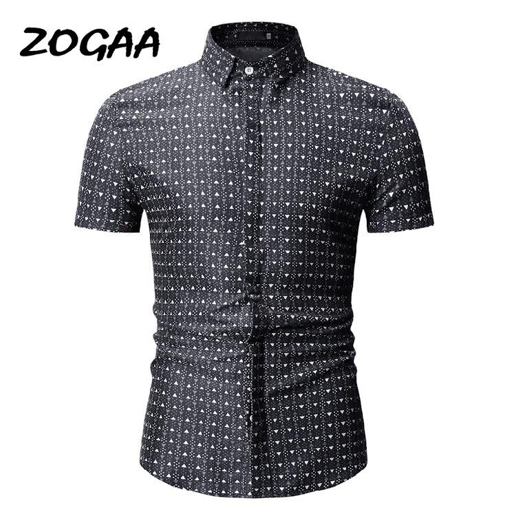 ZOGAA Nueva respirable del verano de manga corta del lunar de impresión ocasional de la manera adelgazan la camisa de manga corta 3XL