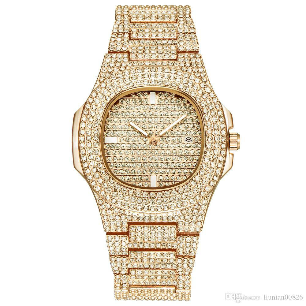 ICE OUT Hip Hop Bling Diamond Watch Men Gold Stainless Steel Band Men's Business Quartz Watches Waterproof Relogio Masculino dropshipping