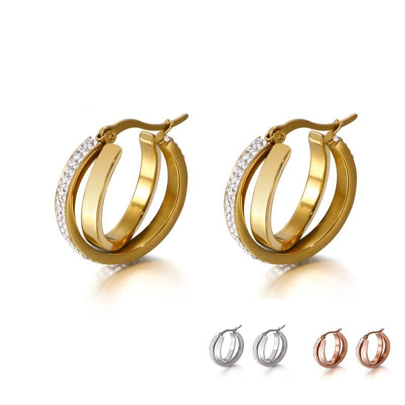 Double Layer Metal Hoop Earrings Women Zircon Jewelry