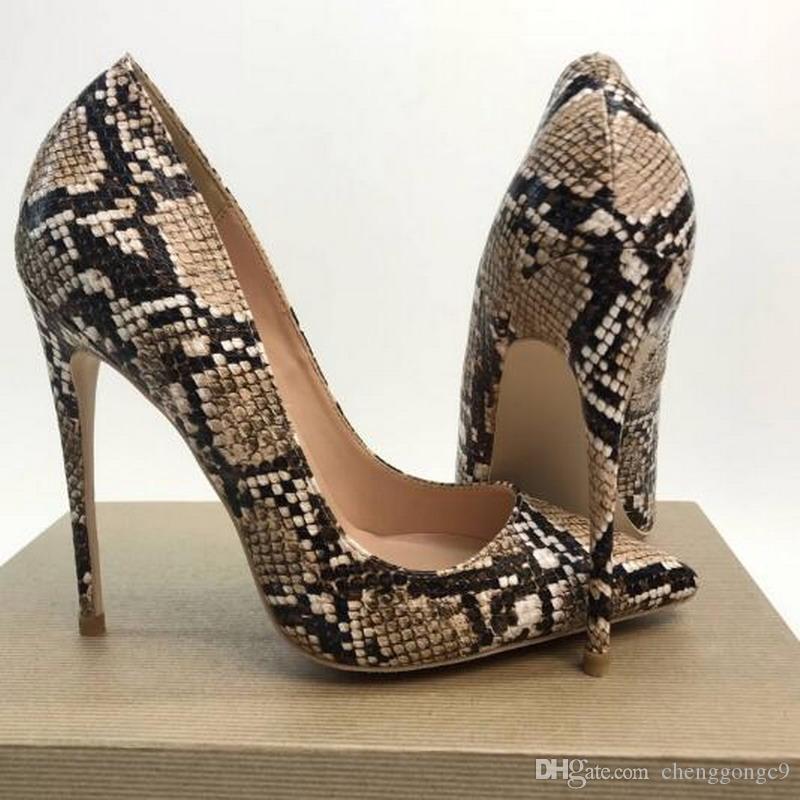 Europeo ed americano 2019 Luxury New 12cm Scarpe con tacco alto in pelle di serpente con tacco superfluo, scarpe con tacco a spillo, scarpe con tacchi sottili