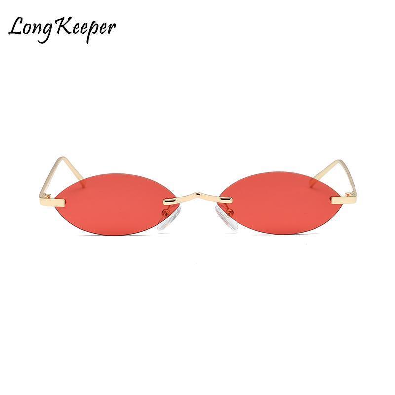 Moda Marca Red Pequeno Oval Sunglasses Mulheres Preto Retro-de-rosa espelho pequeno Tamanho óculos sem aro Sun vintage para homens do metal do ouro