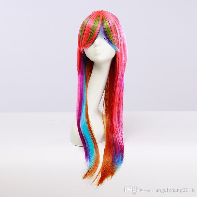 طويل حريري مستقيم شعر مستعار تأثيري شعر مستعار مع هامش في الجبهة 16 ألوان مختلفة لاختيار