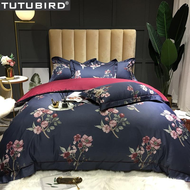 taies d'oreiller rouge bleu literie en coton égyptien ensemble imprimé fleur housse de couette satin pastoral couvre-lit couvre-lit