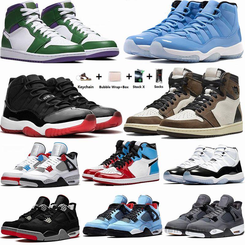 Nike Air Jordan Retro 1 1S تكبير المتسابق الأزرق ترافيس سكوتس 1 أحذية كرة السلة 4S ما أسمنت صبار جاك وايت ولدت 11 بانتون كونكورد 45 رجل مدرب حذاء رياضة