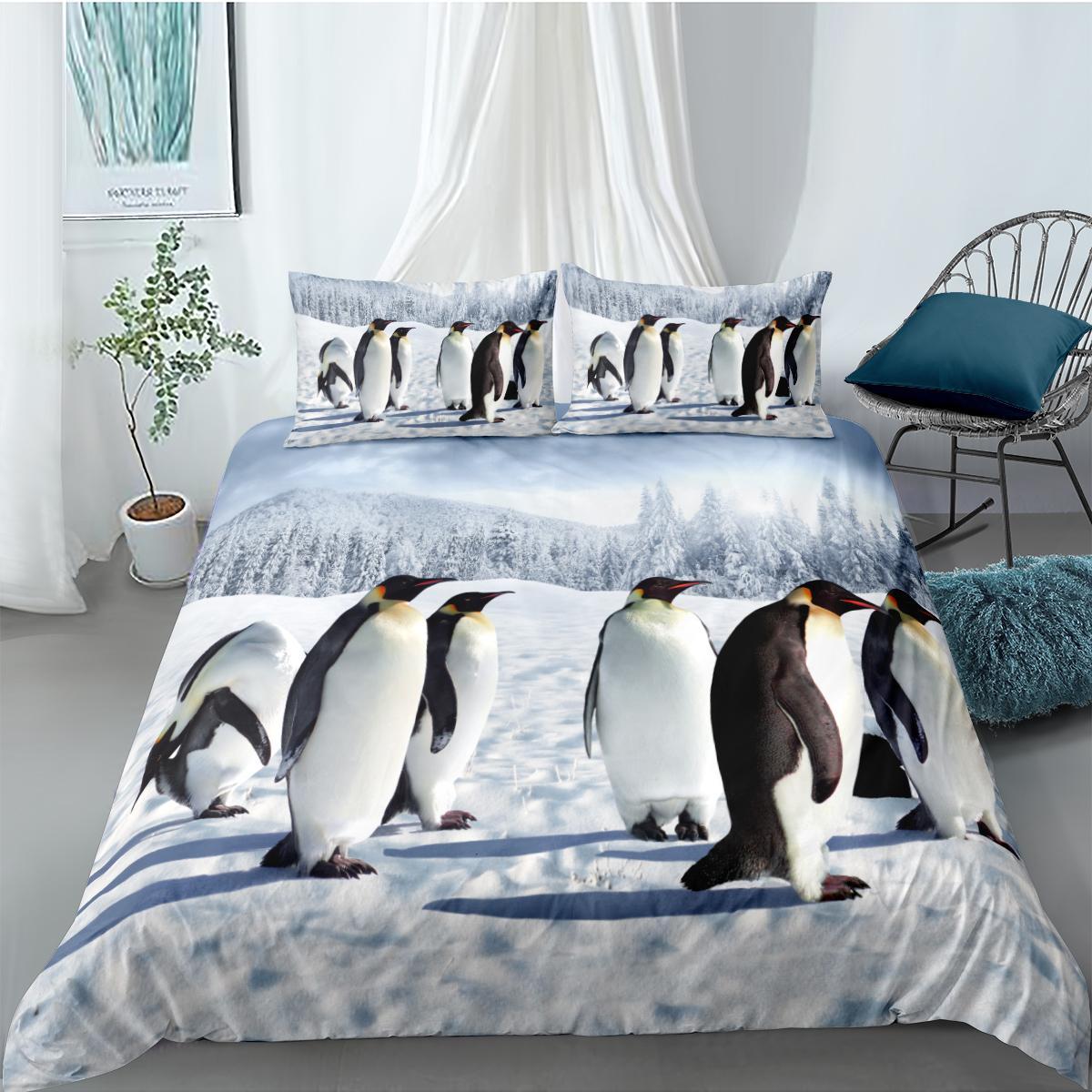 Yatak Seti Penguen Tavşan Nevresim ile Yastık kılıfı Tek İkiz Çift Tam Kraliçe Kral