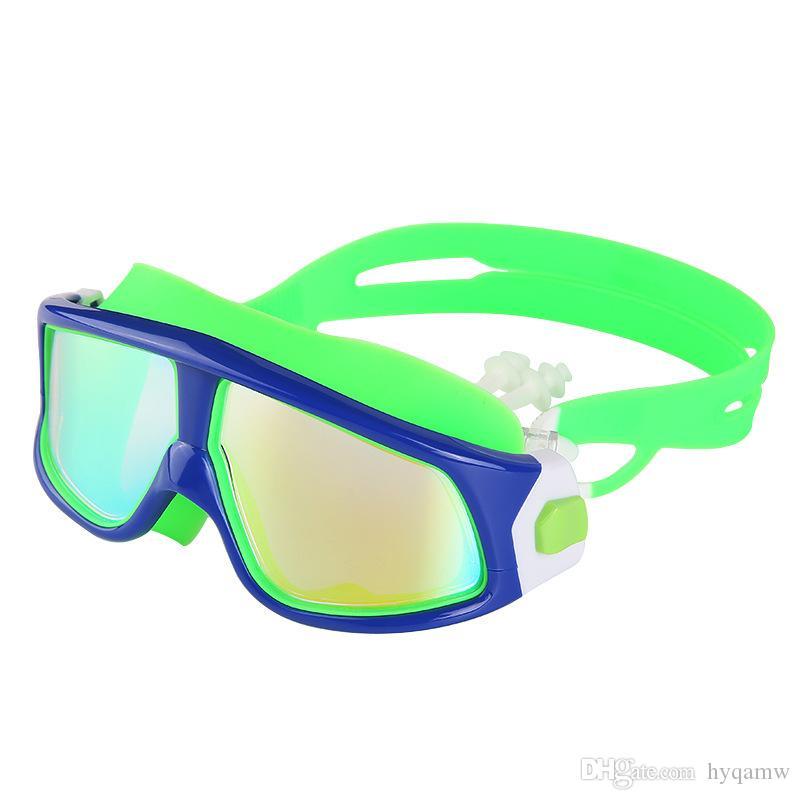 جديد للأطفال السباحة مرآة كبيرة الإطار للماء الضباب واقية عالية الوضوح اللون مطلي متصلة سدادة الأذن مرآة السباحة