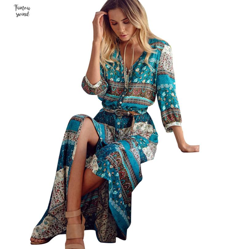 S Dress 5Xl Plus Size Women Long Maxi Dresses Bohemia V Neck Print Ethnic Spring Beach Female Split Stylish Style