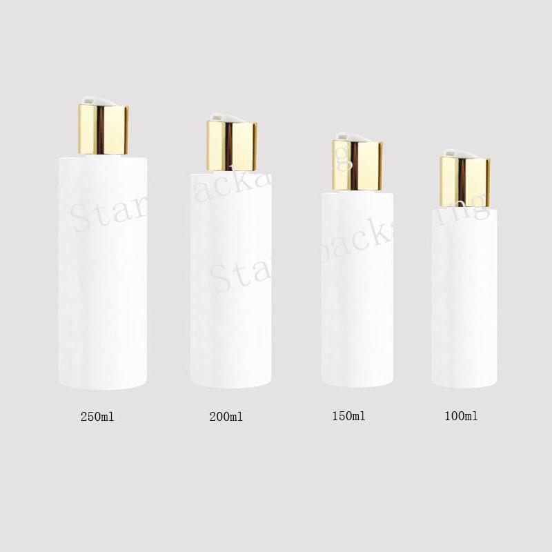 100/150 / 200 / 250ml redondos garrafas de plástico brancas de toner com tampas de rosca de ouro, esvaziar âmbar óleos essenciais embalagem cosmética champô