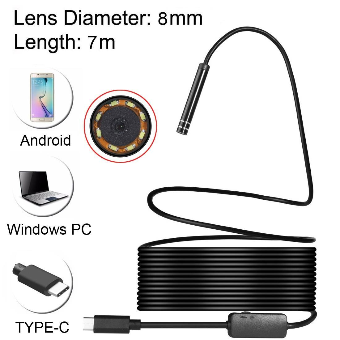 7m, Lens Çapı: 8 LED USB adaptörü, Uzunluk USB-C / C Tipi Endoskop Su geçirmez Yılan Tüp Gözlem Kamerası 8mm