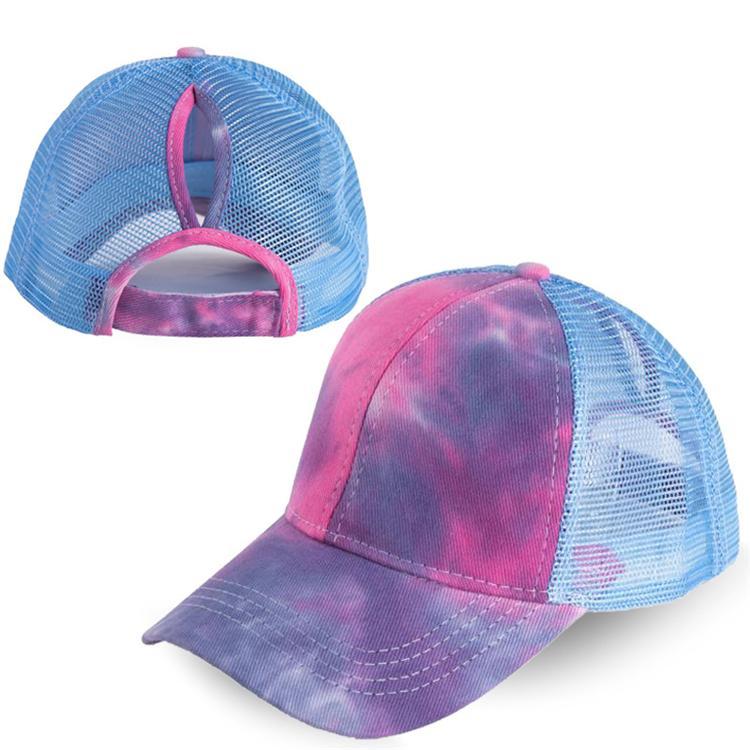 7 cores de verão malha rabo de cavalo boné de beisebol Chapéus Moda Tie Dye Snapback Caps para chapéu de desporto ao ar livre JJ546 atacado