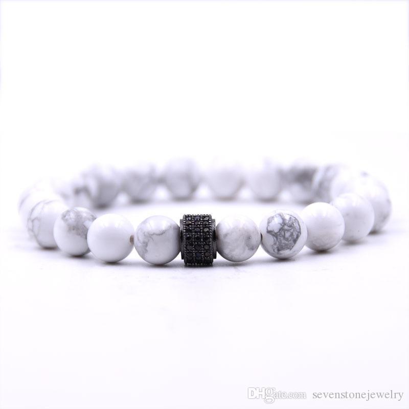 Hommes et Femme de perles Bracelet avec Charme incrusté cristaux plaqué 24Kt or blanc