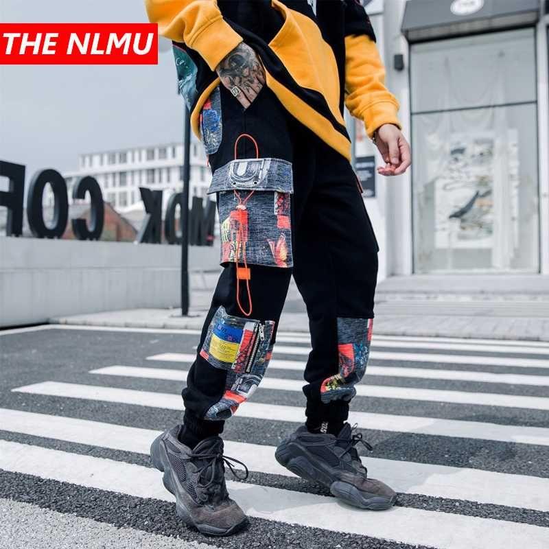 Mens Harem Joggers Sweatpant Hombres 2020 del color del remiendo de Hip Hop Track Pant Hombre Moda de Calle Pantalones Negro WG738