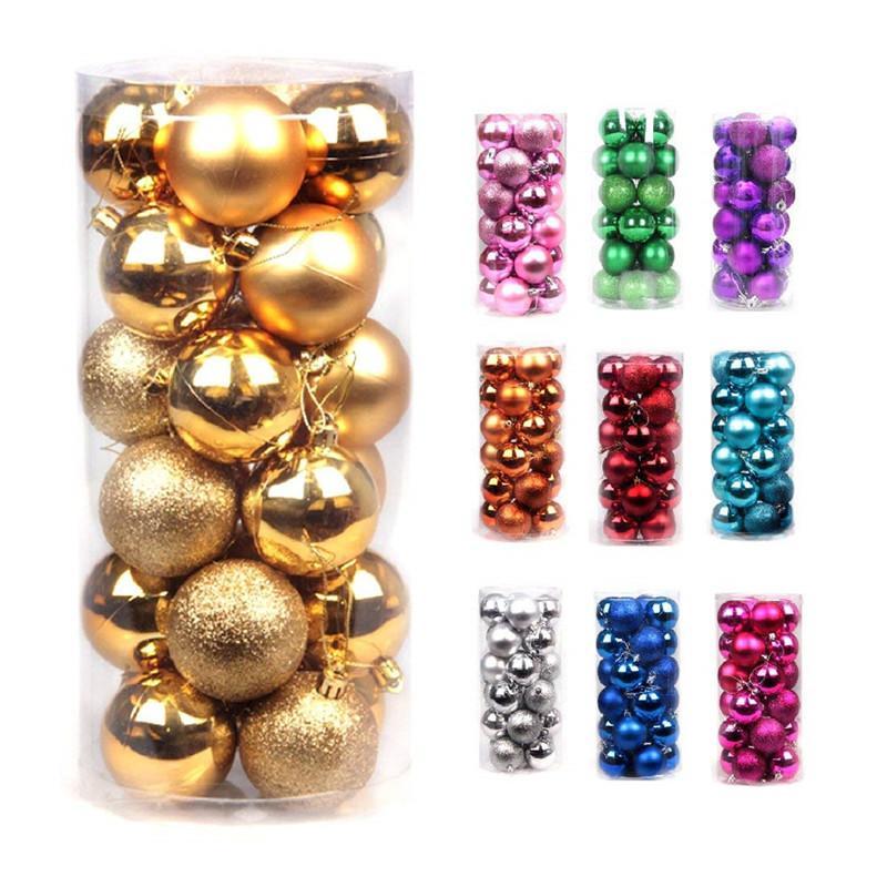 24 stücke Weihnachtsball Ornamente 40mm dekorative bruchsichere Weihnachtsbaum Anhänger Weihnachten hängende Kugeln Kugeln für Feiertagsdekoration
