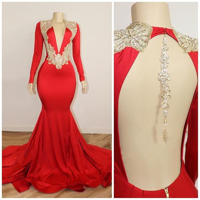 Long Sleeves V Neck Red Prom Dresses with Beads Crystals Backless Evening Gowns Cheap Long Formal Dresses Custom Size