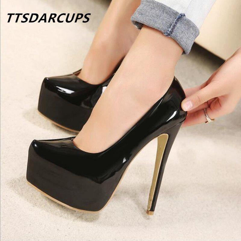 TTSDARCUPS Nueva mujer zapatos tacones de plataforma Super tacón alto 15CM sexy Nightclub pump Tamaño grande 35-44 Estos zapatos son mujeres.