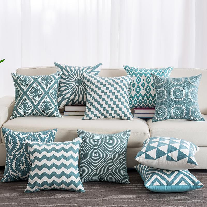 Blue Color Embroidered Cotton Pillow Case Stripe Patterns Decorative Seat Pillowcases Soft Throw Pillow Cover 45*45cm