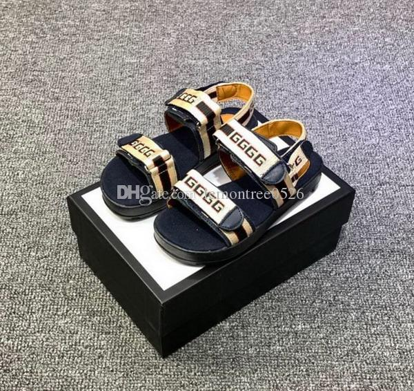 Nouveaux Enfants Designer Sandales Mode Garçons Filles Diapositives Haute Qualité Toddler À Rayures Bébé Chaussures Avec La Taille De La Boîte 26-35