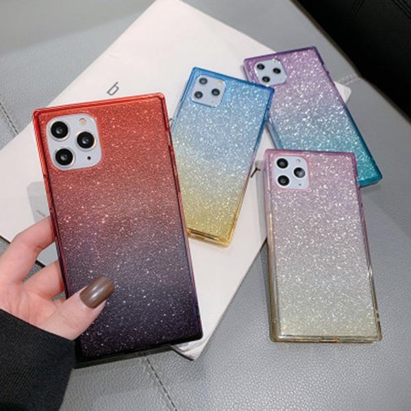 Pour iPhone 11 Gradient Glitter silicone pour iPhone Cas de téléphone XS Max XR 8 7 6 SE 2020 Anti-chute antichocs de couverture de cas