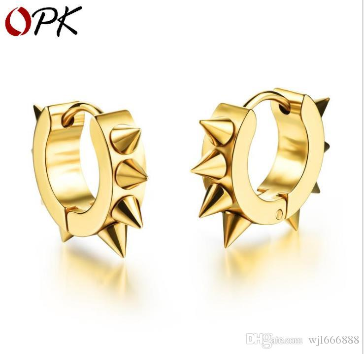 Round cone stud earrings Titanium steel trend fashion personality solid color men and women jewelry