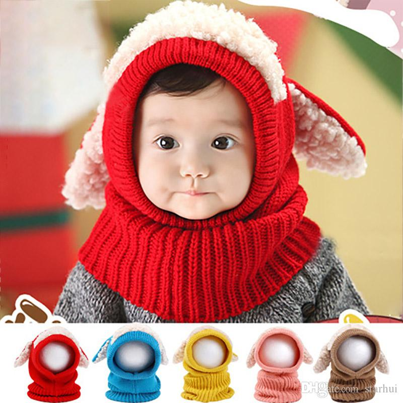 6 Colors Baby Crochet Warm Hats Cap Kids Girls Boys Knit Woolen Yarn Caps With Shawl Scarf Beanie Hats Xmas DHL SHip WX9-1667
