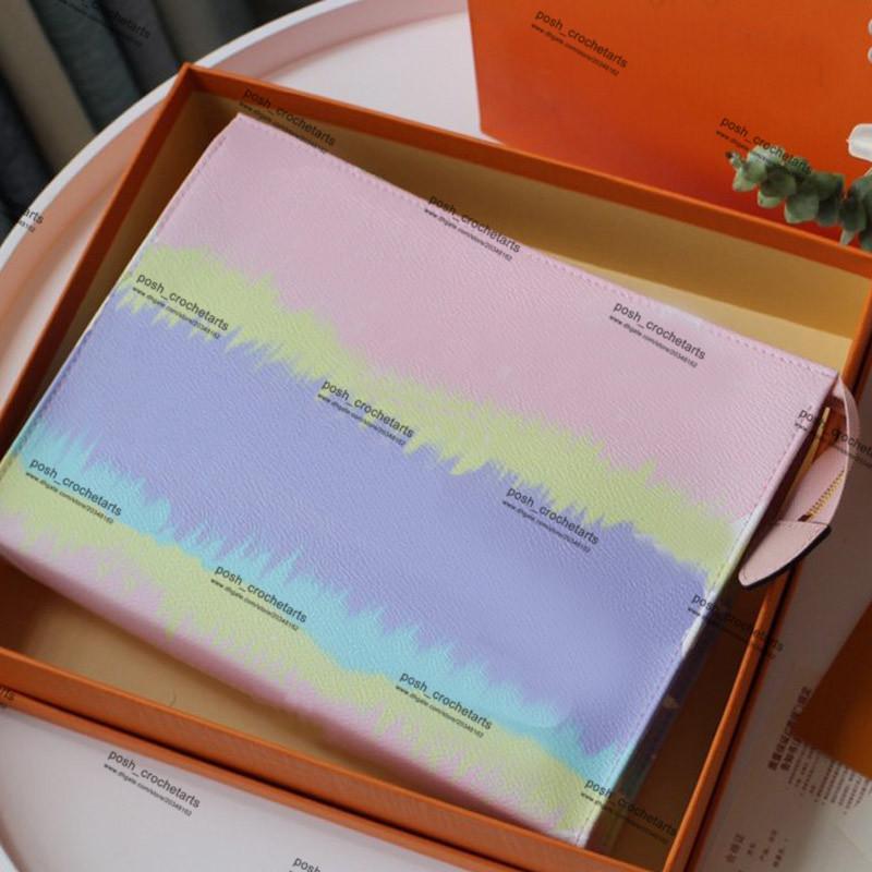 Tie Dye Moda Lüks Kozmetik Çanta Pastel Pembe Tuvalet Çanta ile Kutu Tasarımcı Batik Tasarımcı Tuvalet Kılıfı Box ile birlikte gelir