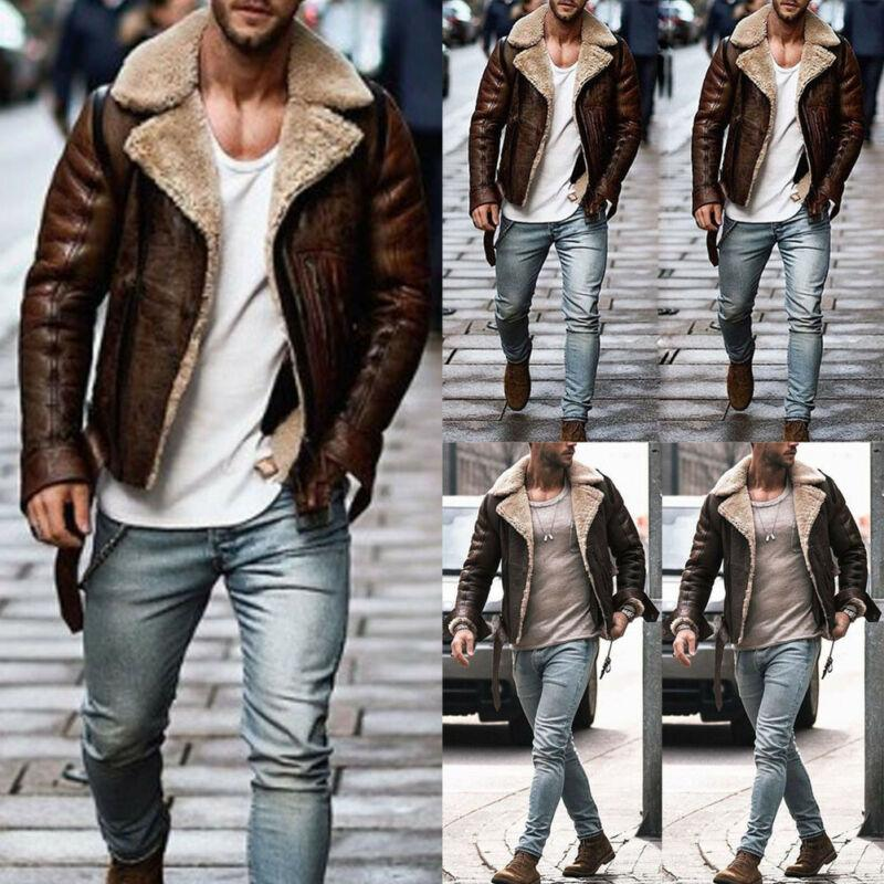 Winter Men Leather Wool Coat Trench Coat Outwear Overcoat Long Sleeve Jacket Top