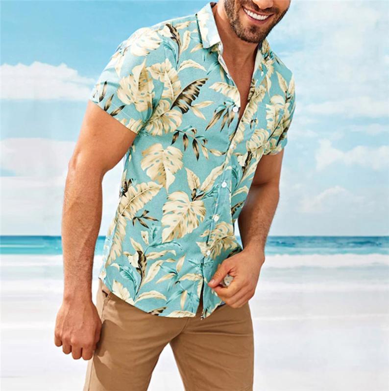 Рубашки мужские отдыха Стиль Короткие рукава 2020 Summer Leaf Печать Гавайский пляж Casual Male рубашка блузка Сыпучие Fit FM050