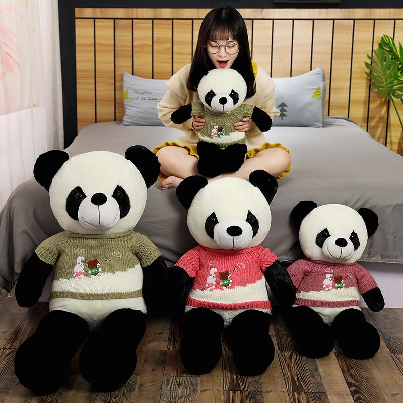 Hot Cute Baby Big Giant Sweater Panda Bear Plush Stuffed Animal Doll Animals Toy Pillow Cartoon Kawaii Dolls Girls Lover Gifts