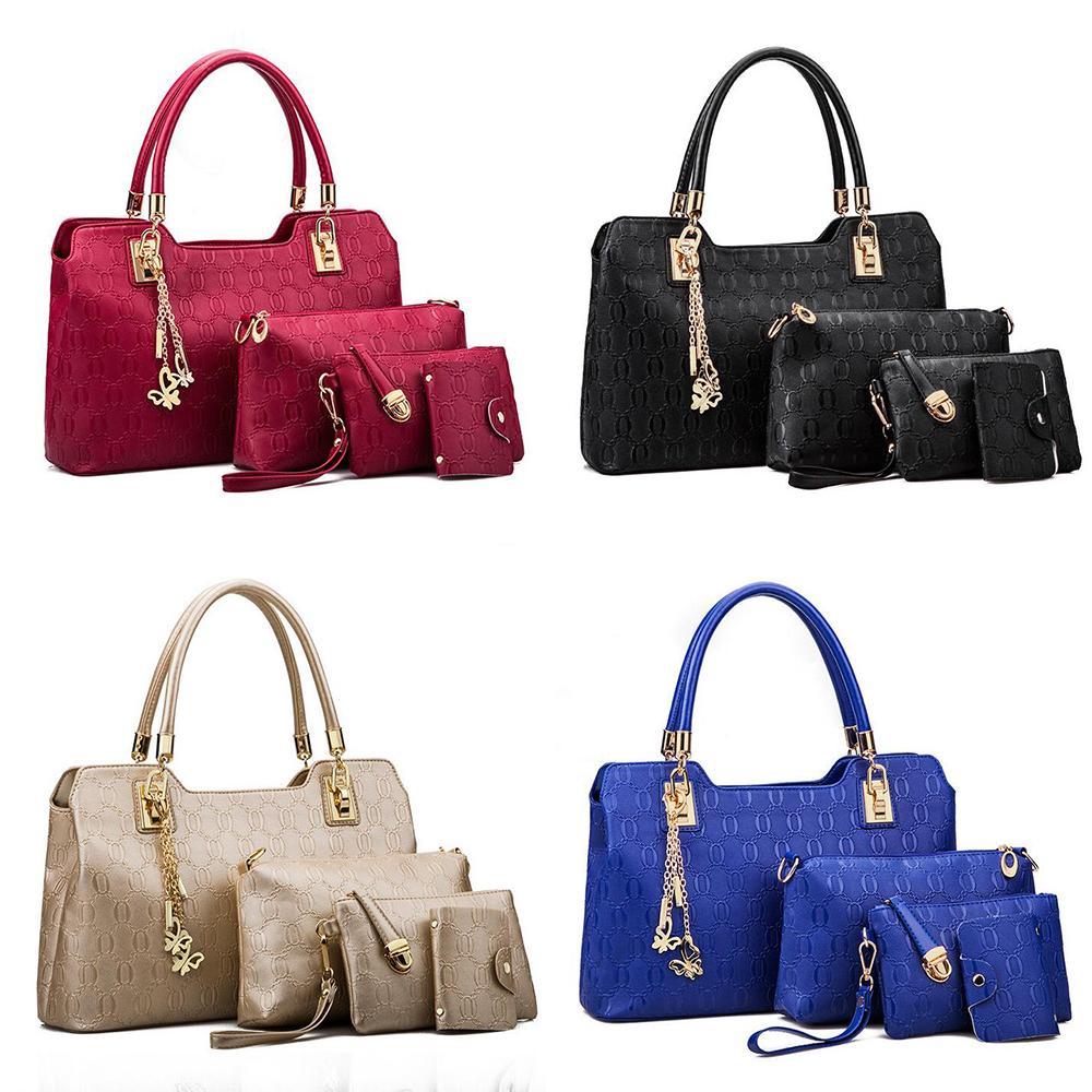 sacs à main designer de luxe PU Sac à bandoulière Couleur composite solide épaule Quatre pièces sacs de haute couture dames Capacité portefeuille