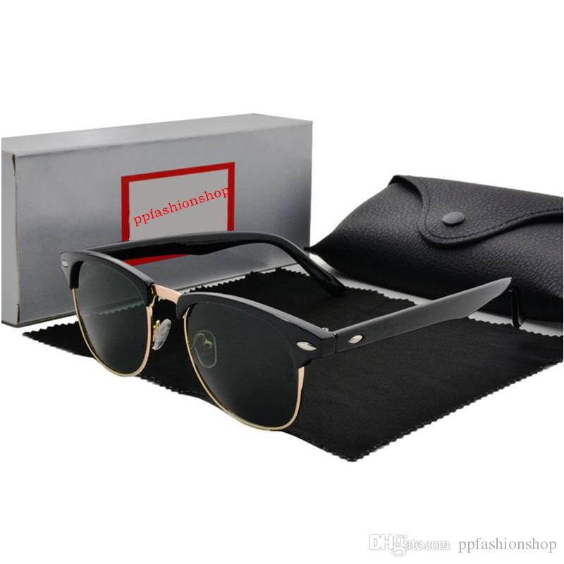 Hohe Qualität Marke Designer Sonnenbrille Metallscharnier Sonnenbrille Männer Brille Frauen Sonnenbrille UV400 Glaslinse Unisex mit Hüllen und Kasten