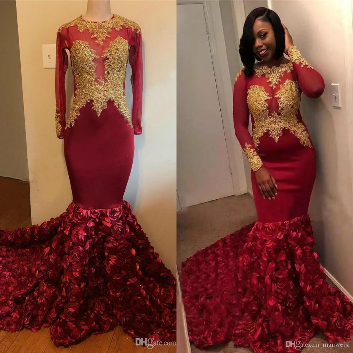 2019 Dark Red African Mermaid Prom Dresses Long Sleeve Gold Appliques Beads Flower Evening Gowns Plus Size Black Girls Pageant Party Dress