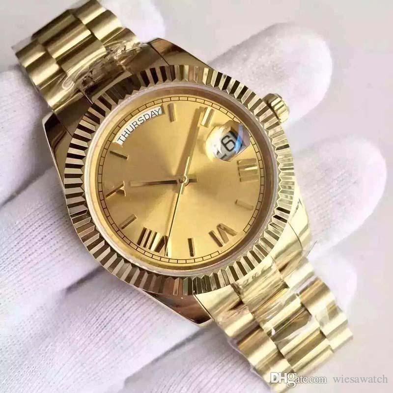 Новый Властной Человек Часы платье Наручные часы 18K желтое золото Сапфир Cystal 40MM Открытый Мужские часы с увеличенными Дата Окна