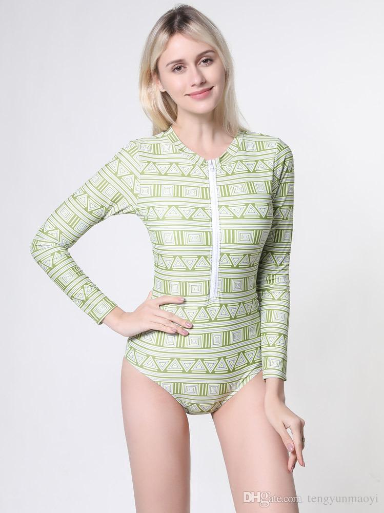 Mulheres verão swimwear Europa e o novo design de moda one-piece swimsuit de manga comprida conservadora zipper treliça swimwear atacado