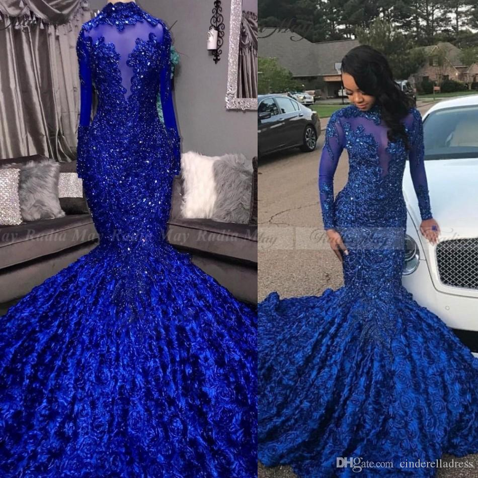 2020 Vintage Royal Blue 3D Floral Mermaid Prom Dresses Black Girls High Neck Long Sleeves African Plus Size Evening Formal Dress Court Train