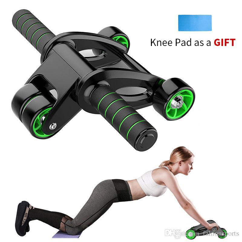 Çekirdek Gücü Ana Gym Fitness Ekipmanları için Procircle Ab dört tekerlekli Merdane Karın Egzersiz Tekerlek Diz Pad içerir