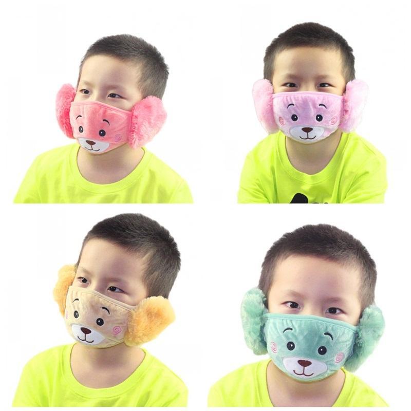 Masque Visage Ours Cartoon enfant avec des masques de protection oreille épais et chaud Enfants bouche en peluche d'hiver Bouche moufles Pour cotillons 2 9jzj E1