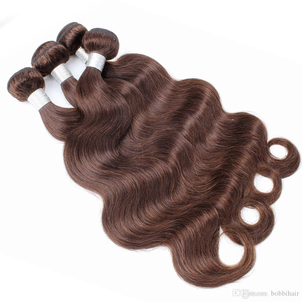 #4 Chocolate Brown Human Hair Bundles Brazilian Virgin Body Wave Hair Weaves 3/4 Bundles 12-24 inch 100% Remy Human hair extensions