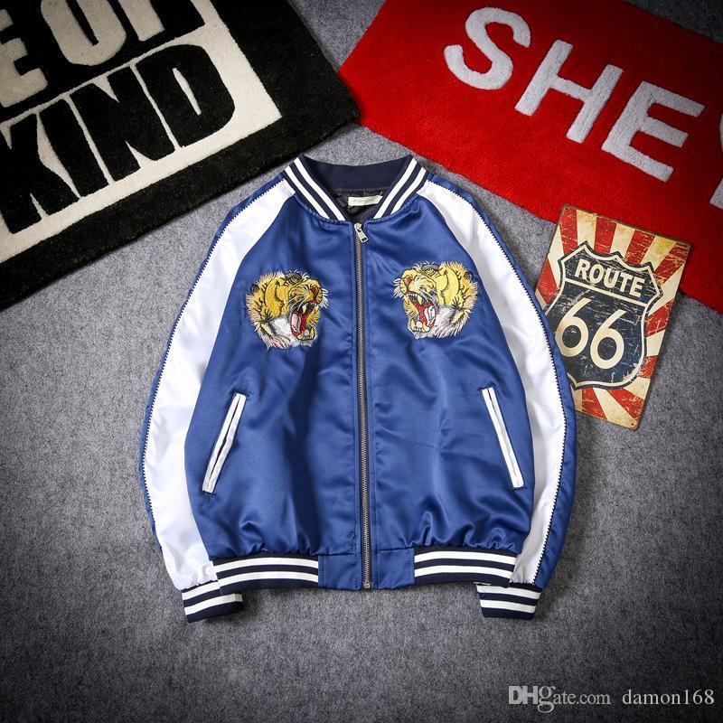 MENS Brand Design куртки Tiger Head Ptint Flight Куртки Мужчины Осень Зима Zipper Windbreak Повседневный Спортивный костюм Hip Hop C л