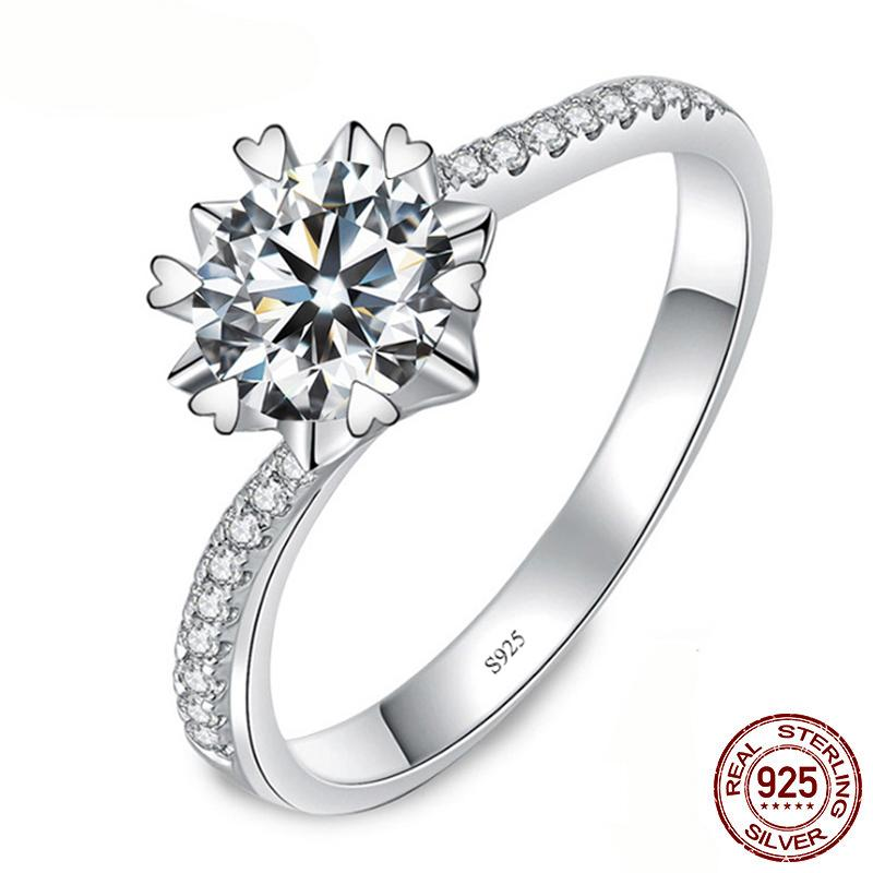 Solid Arrivals Real 925 Sterling Silver Wedding Engagement Ring Princess Cut 6.5mm Diamond Fashion Hot Jewelry Gift for Women XR281