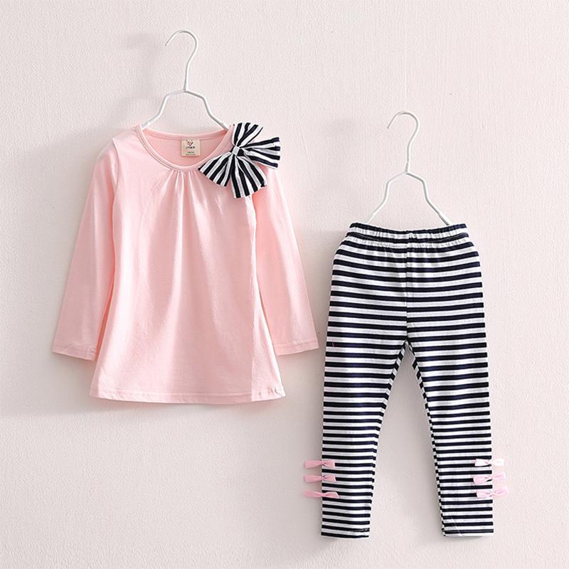 Детские Детская одежда Девочки Комплекты 2019 New Cotton Casual Детская одежда Комплект с длинным рукавом полосатые брюки Roupas Infantis